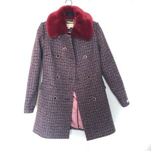 82c821c0d Ted Baker London Jackets   Coats - Ted Baker Red Faux Fur Collar Wool  Peacoat Size